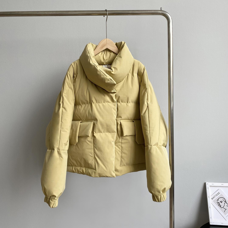PCQO Womens Down Куртка Капюшон Британский Свободный Большой Молния Стиль Parkas Белая утка Даун Женщины Черные Розовые Пальто Палаты Думая Куртка Зимняя Версия 50kg-80