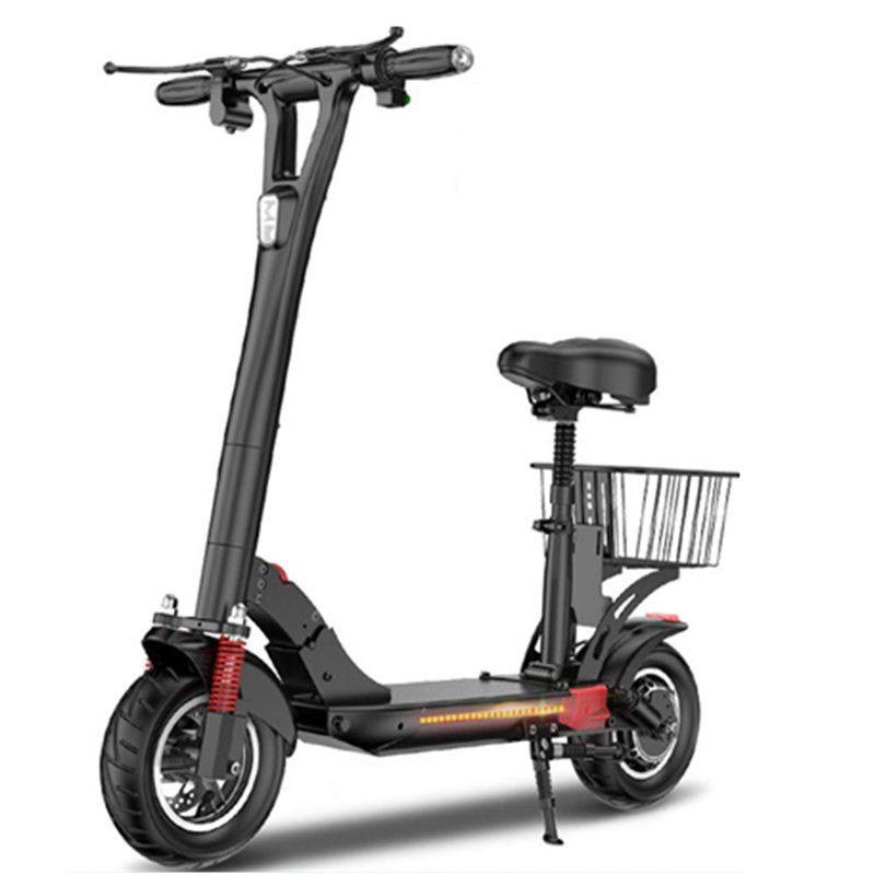 DABOT Faltbares elektrisches Fahrrad 10 Zoll Zwei Räder Elektrische Roller Geschwindigkeit 45km / h 500W elektrischer Kick-Roller mit Sitz- / seitlichen Licht