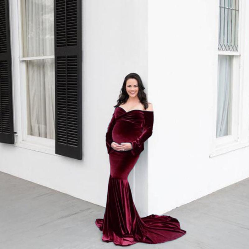Nuevas mujeres Fotografía de maternidad Vestido de pecho Longitud Leche Vestido largo de seda para el cuello en V Embarazo Ropa de embarazo azul