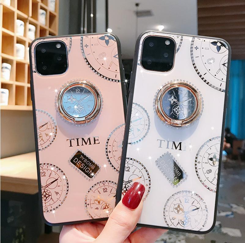 لابل اي فون 12 حالة ترف الماس على مدار الساعة مع حزام يقف واقية حالة الغطاء الخلفي للآيفون 12 برو ماكس iphone12 12Pro