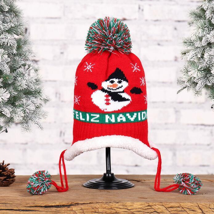 Presente Crianças Cap Gorros bebê do Natal Chapéu de lã quente malha Beanie Crianças Pom Pom Chapéus de Inverno Headwear Outdoor de Natal Caps KKB2718