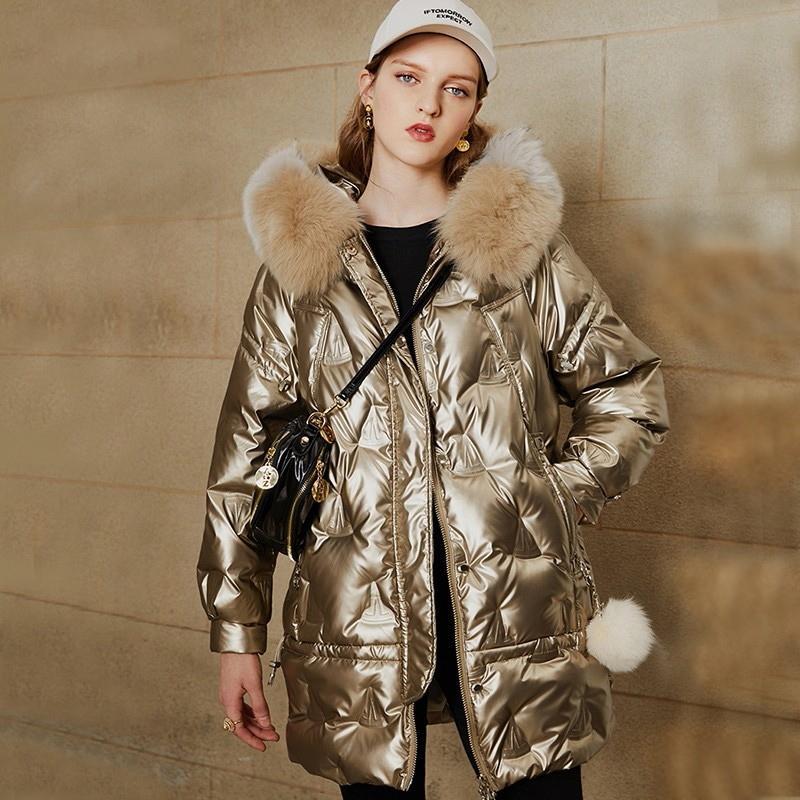 Ailegogo New Big Real Fur Hooded Jacket Novo 90% Duck Down Longo Casaco Espessante Quente Snow Outwear Mulheres Golden Winter Parkas Y201026