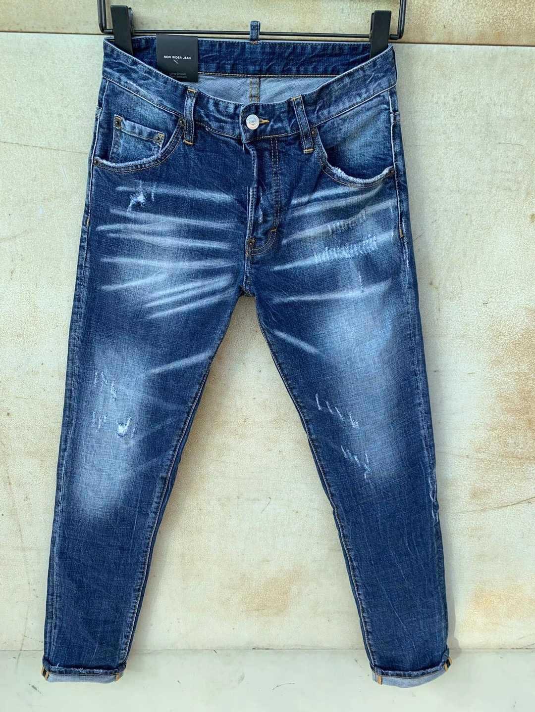 Modische europäische und amerikanische Männer Lässige Jeans in, hochgradige gewaschene, handgenutzte, enge zerrissene Motorrad Jean LT9630