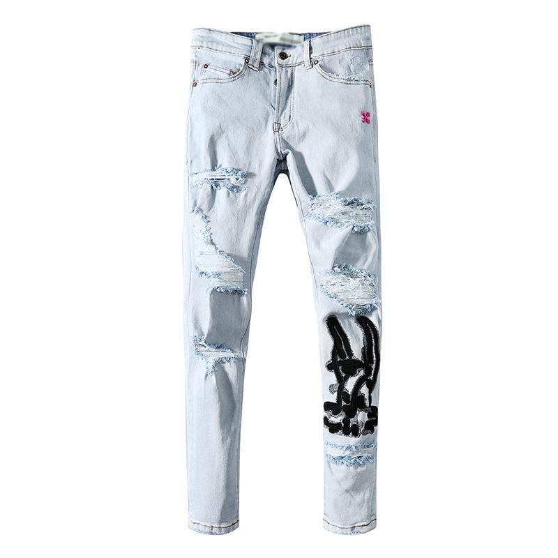 Off Black White High Street Ins Hip Hop Calças Hole Bordado Jeans Homens