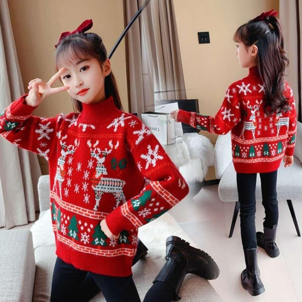 new Girls' sweater 2020 high collar autumn winter plush thickened long sve T-shirt children's annual wear top