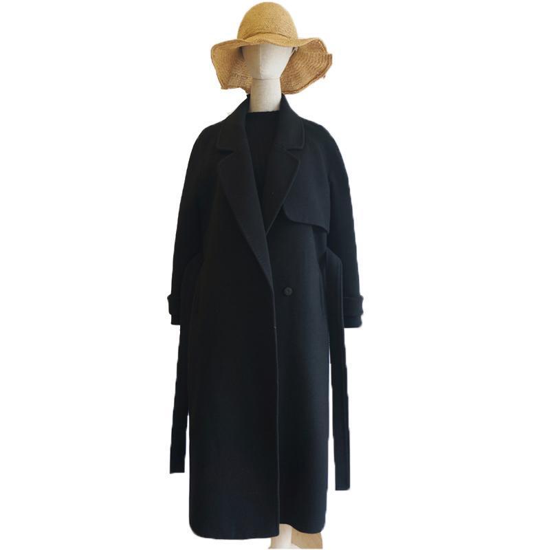 Frauen Wollmantel 2020 Warmwolle Mischungen Lange Wintermantel Abschleppungskragen Verstellbarer Gürtel Parka Mujer Büroarbeitskleidung LX2551
