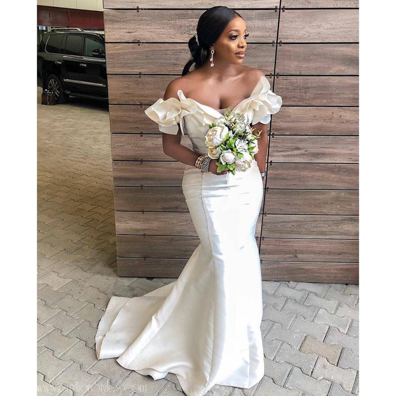 Sexy sirène Robes de mariée 2020 africaine fille noire épaules longue robe de soirée de mariage robe de fête de mariage