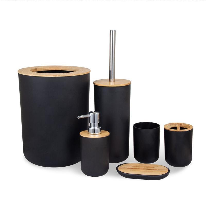 6pcs / set de bambu escova de dentes de madeira Copos Titular escovar os dentes Copa Emulsion Container Casa de banho Cozinha Acessórios