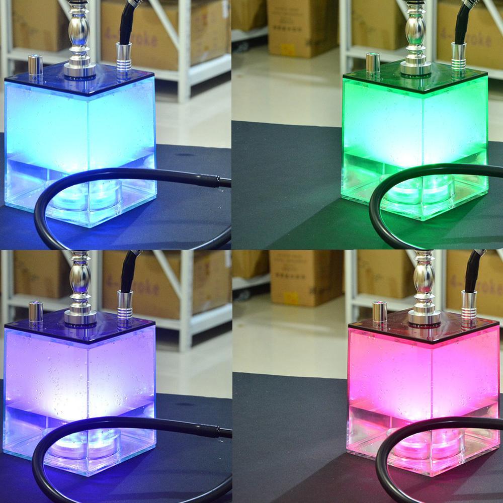 Ensemble acrylique avec lampe LED Shisha Tuyau de charbon de charbon de charbon de bois Brokah Bol Narguile Cachimba pour Bar.club.Parte