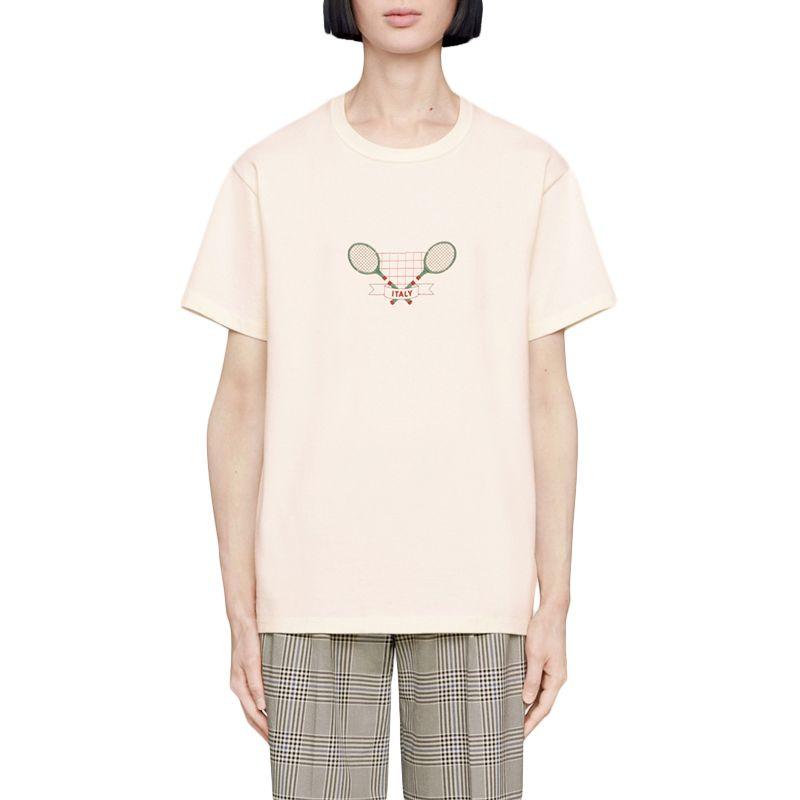 19SS теннисный ракетка вышивка футболка повседневная бежевая в Италии футболка мужчины женщины с короткими рукавами летняя футболка мода мужчины женщин тройник