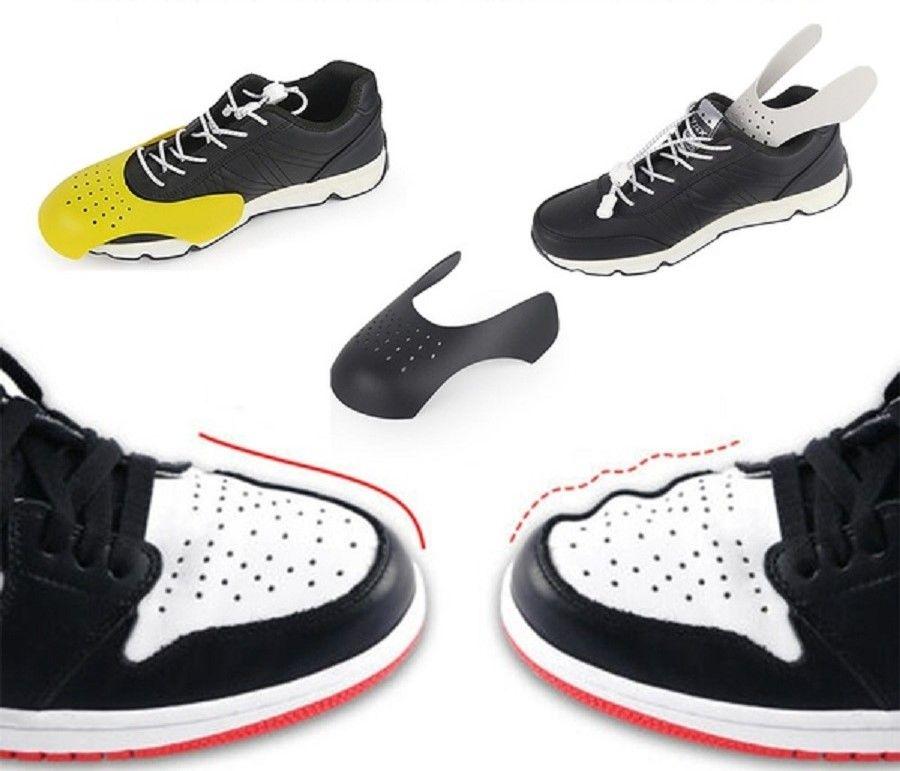 Zapatos Escudos de la zapatilla de deporte de Anti Arruga arrugado doblez del dedo del pie zapato de la ayuda del zapato Cap Sport Ball Head Camilla zapatos árboles blancos negro amarillo