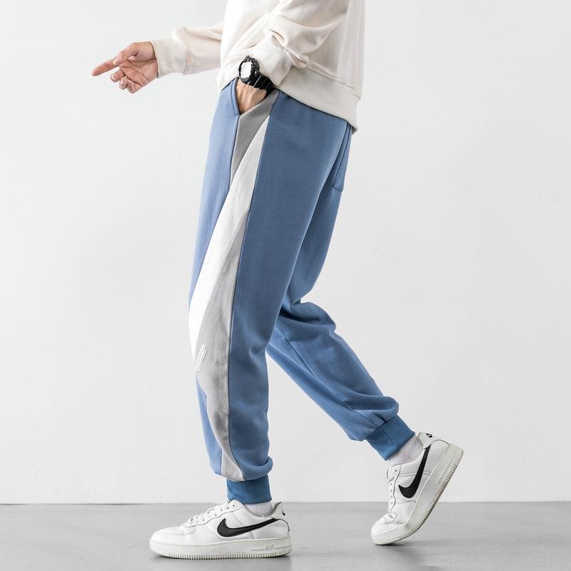 nZ06v 2020 Sonbahar gündelik Yeni kontrast rahat pantolon Kore gevşek Capris bacaklı yakışıklı basit Gençlik renk pantolon adam Hv7xh