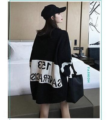 LXvPx Средний и длинный трикотажные топ Top свитер большой корейская осень и зима нового uDBgd свободно BF томный Harajuku девочке 2970 свитера