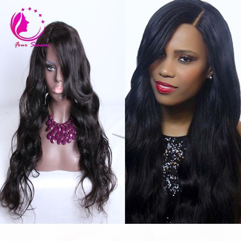 100% non trasformato brasiliano capelli verginia parrucca parrucca corpo corpo corpo medio lato parte u parte parrucca capelli umani per donne nere freehipping