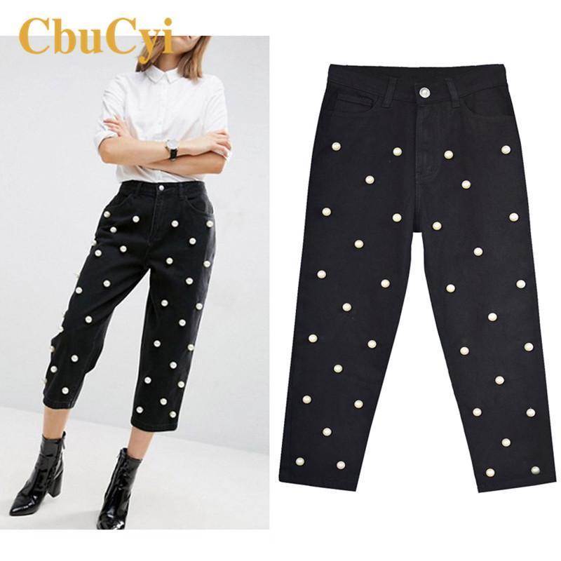 Женские джинсы Vogue Bandkle-длиной брюки женские улины стиль джинсовая высокая талия прямая свободная широкая нога вышитые вспышки брюки