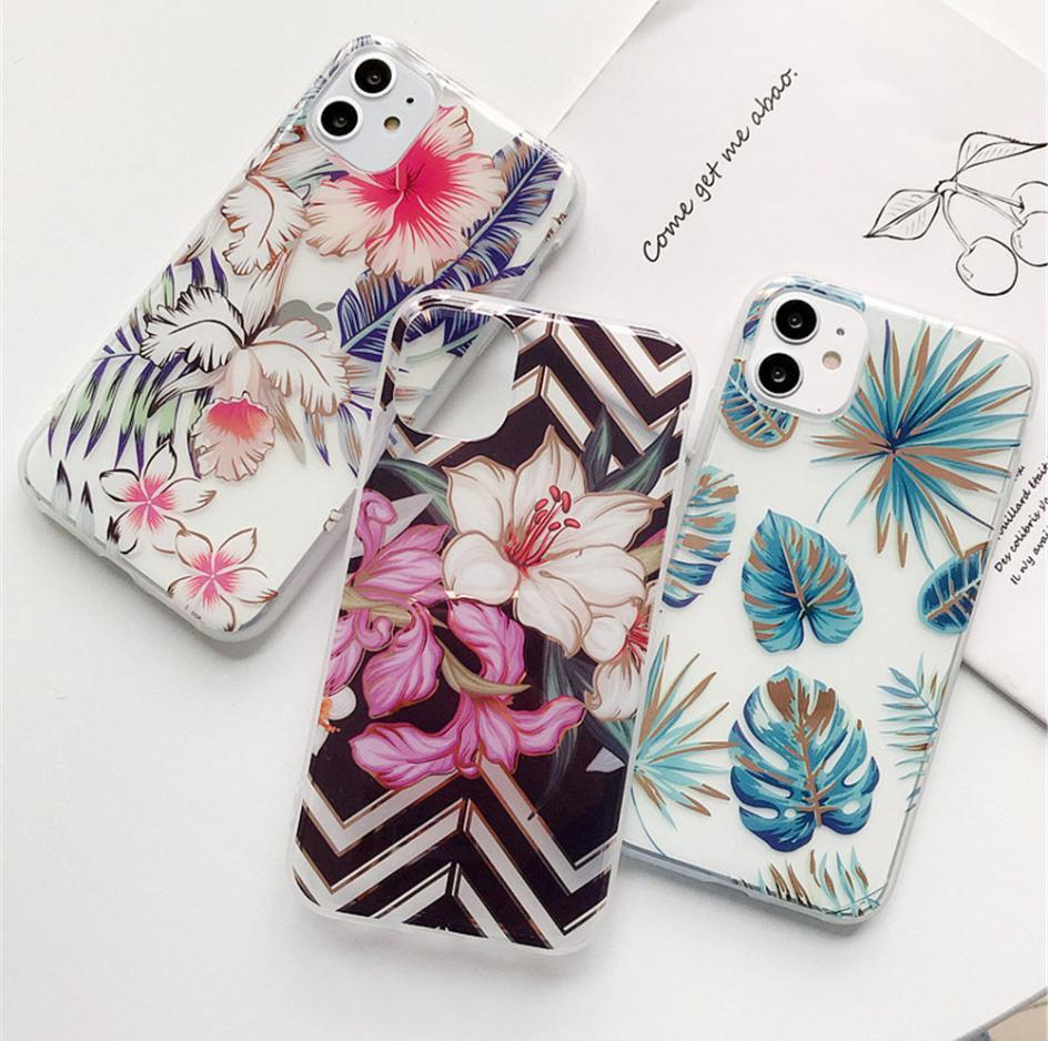 Прозрачный Цветы Листья телефон случае для iphone X XS MAX XR 11 11Pro 8 7 Plus