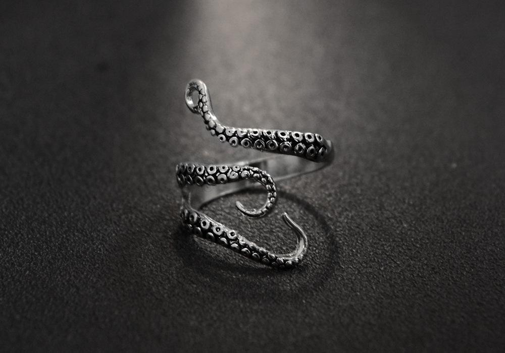 Кольцо из нержавеющей стали для женщин мужские морские моря Squid Осьминог кольцо открыть регулируемое осьминог титановые мужские кольца