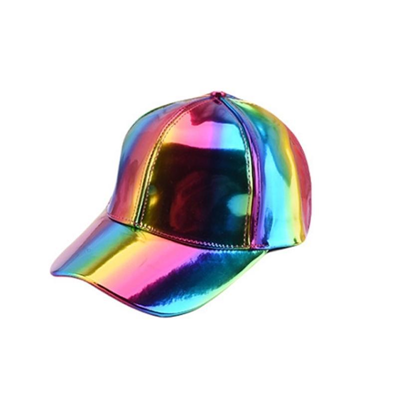 Мода HIP-хоп шляпа для радуги цветная шляпа шляпа женщин мужская крышка цвет градиент блестящий кожаный кожаный бейсболка y200730
