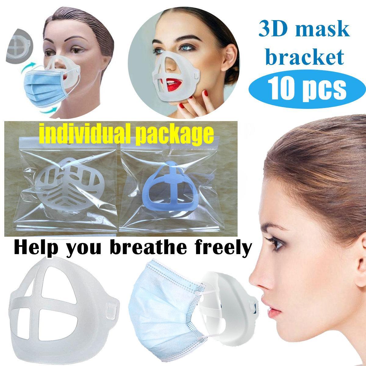 Maske 3D-Bracket Lippenstift Schutz Silikon-Standplatz-Gesichtsmaske Innen Enhancing Atem Reibungslos Kühle Maskenhalter Wiederverwendbare Zubehör