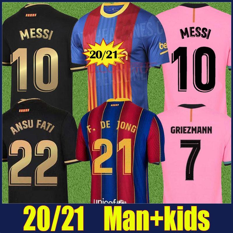 2020 İspanyol futbol kulübü forması Frenkie Lionel Andres Kırmızı mavi çizgili Ansumane Antoine forma adam çocuklar Camiseta Fati 20/21 kiti