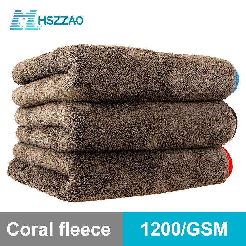 Wash 1200GSM Detailing Microfiber Towel Cleaning Drying Thick Washing Rag for Cars Kitchen Car Care Cloth 201021