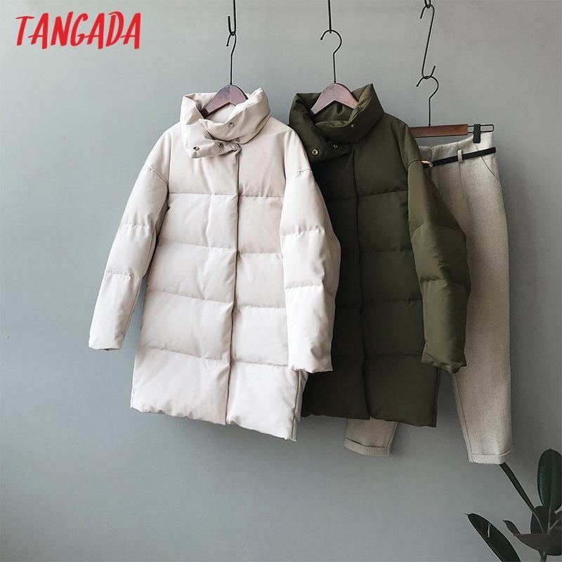 Tangada Femmes Amy verdissent Oversize long Parkas épais hiver boutons à manches longues poches Manteau Femme chaud ASF73 201110