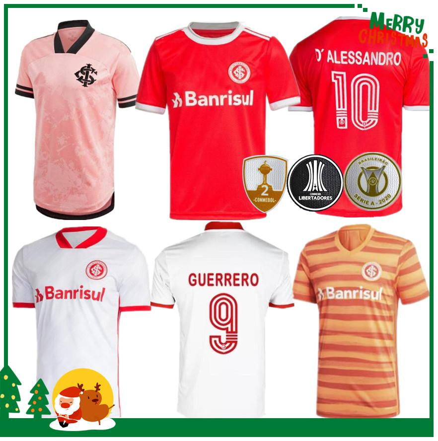 2020 2021 브라질 Internacional 홈 축구 유니폼 축구 셔츠 20 21 Guerrero Damiao Silva D Alessandro 성인 남자 + 키트 키트 축구 셔츠