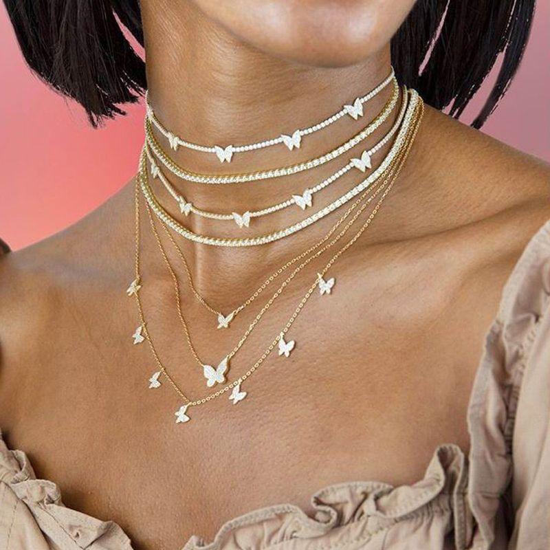 2020 Cadena Nueva CZ heló hacia fuera Pista de joyería de mariposa collar Gargantilla Animal Charm color oro collares de plata Mujeres Moda Y200918