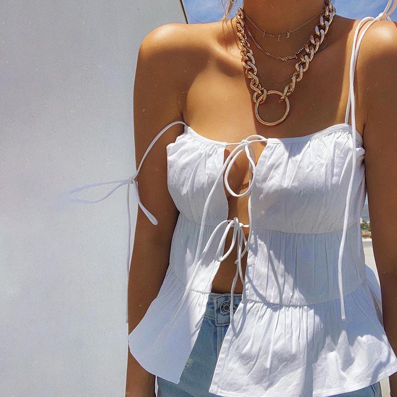 Européenne Femmes élégant camisoles de Split à lacets bretelles Sling solide Ruffle Backless High Street Casual camisoles Gilet d'été