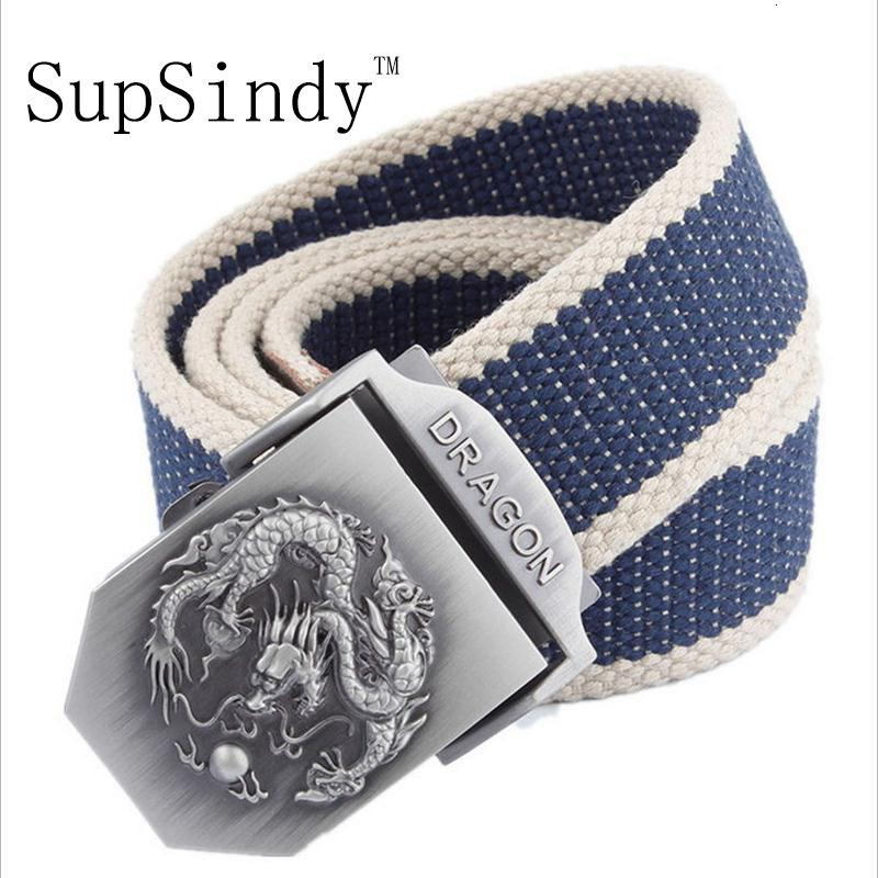 Supsindy Men&women Canvas Dragon Metal Buckle Waistband Military Belt Army Tactical Belts for Men High Quality Male Strap