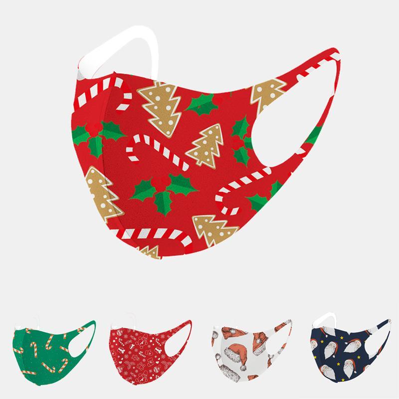 2020 Cara Moda de Navidad máscara a prueba de polvo respirable Santa Claus Elk impresión de seda del hielo Máscara de Navidad Adultos Niños mascarillas