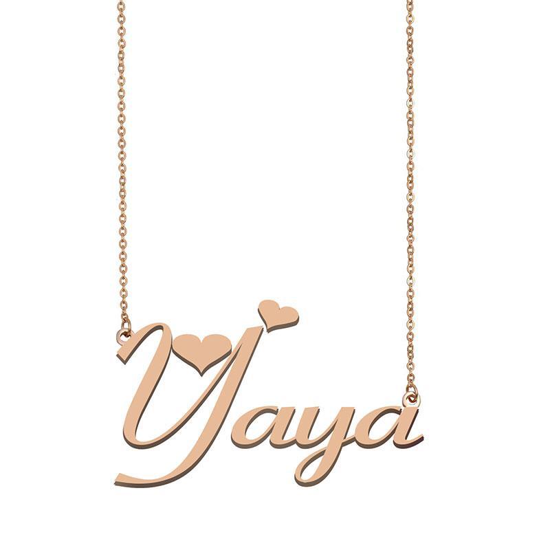 Yaya Namenskette benutzerdefiniertes Typenschild Anhänger für Frauen-Mädchen-Geburtstags-Geschenk für Kinder Beste-Freunde-Schmucksachen 18k Gold überzogener Edelstahl