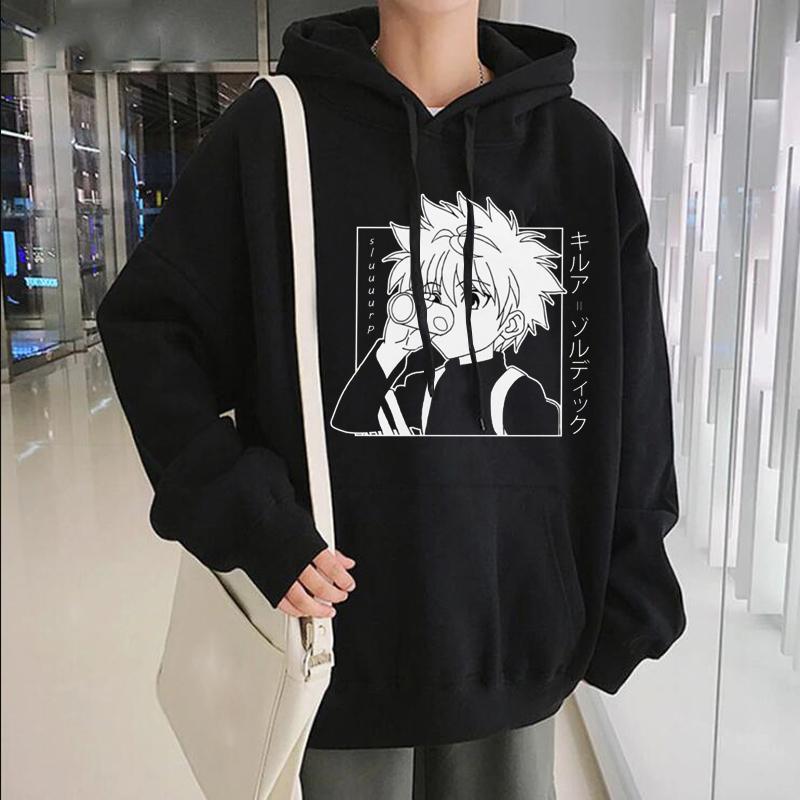 Anime giapponesi divertenti killua Occhi Killua HxH cappuccio 2020 Inverno Japan Style Hunter X Hunter Felpe Streetwear per le donne / uomini C1011