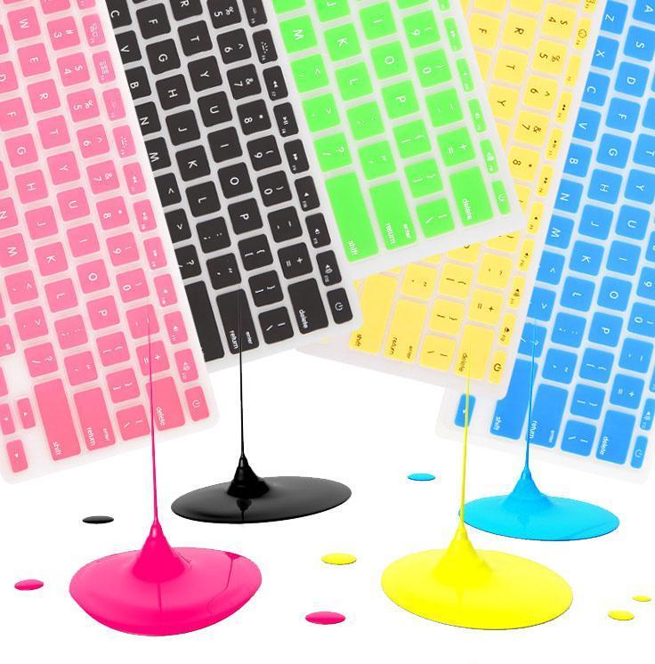 Portátil Soft Silicone Colorful Keyboard Funda protector Piel para MacBook Pro Air Retina 11 12 13 15 Paquete de papel a prueba de polvo impermeable