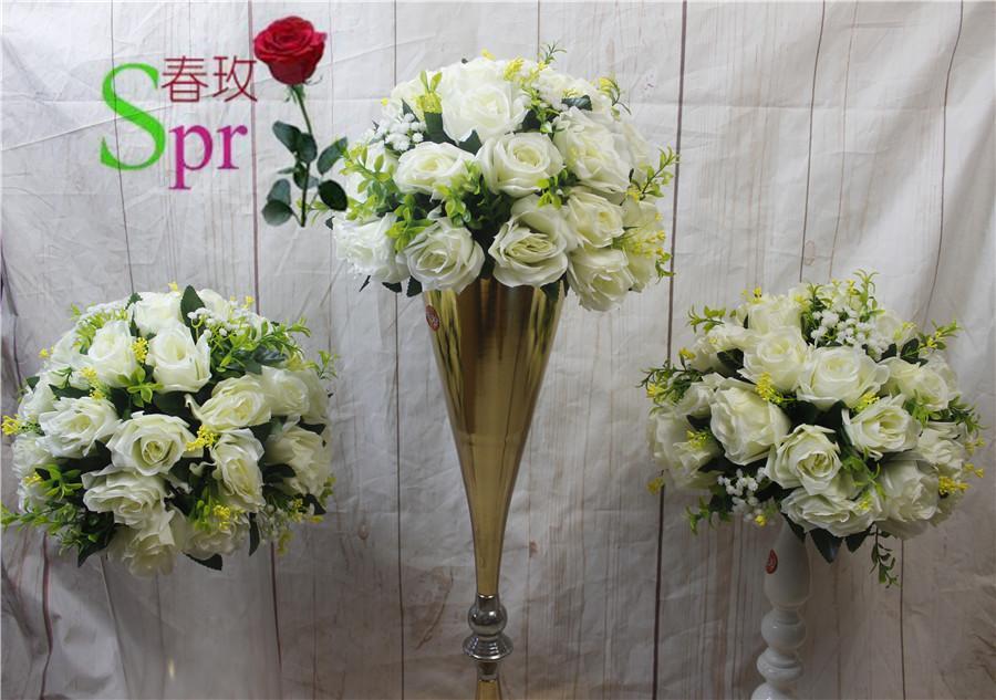 SPR Branco Frete Grátis! 10 pçs / lote de casamento de chumbo de estrada de chumbo de mesa da mesa artificial flor beijando bola flores decoração