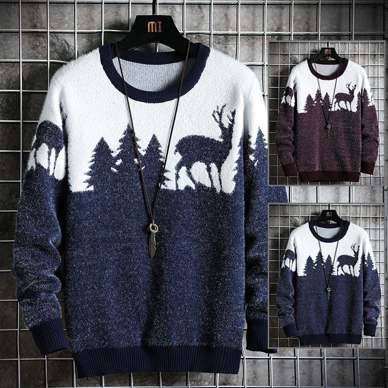 Новый мужской свитер Hot стиль модный свитер рождественские тема мужской свободный свитер красивый мужская одежда многоцветный дополнительный 201117