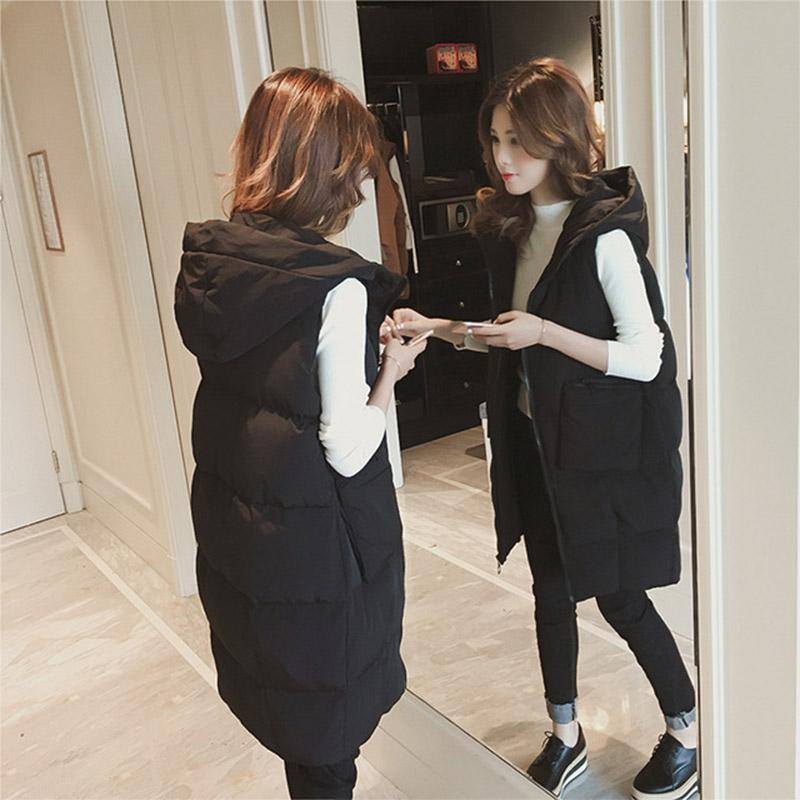 2020 new long section cotton jacket autumn and winter Korean version of the sleeveless bread clothing student hooded jacket