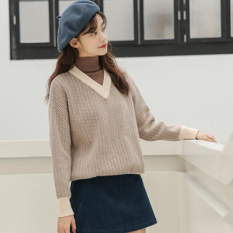 donne pullover maglione a strisce di falsificazione di modo due pezzi collo alto cucitura autunno e l'inverno a maniche lunghe