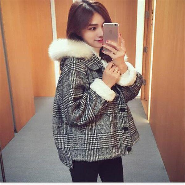 2020 nuovi giacca corta collo di pelliccia coreano cappotti cappotto di lana autunno e l'inverno delle donne cappotto di lana della tuta sportiva Top