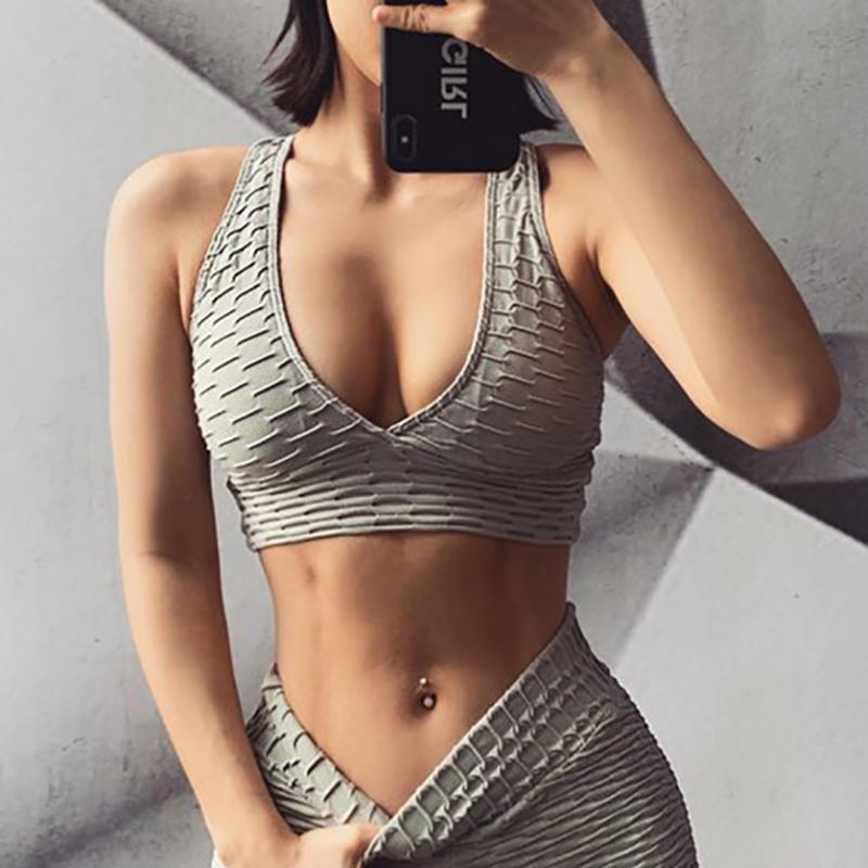 Femmes Sexy Décolleté V Jacquard Sport Soutien-gorge croisé dans le dos respirant Yoga Soutien-gorge sans dossier Sport Push Up Gym Crop Top Fitness Workout Top