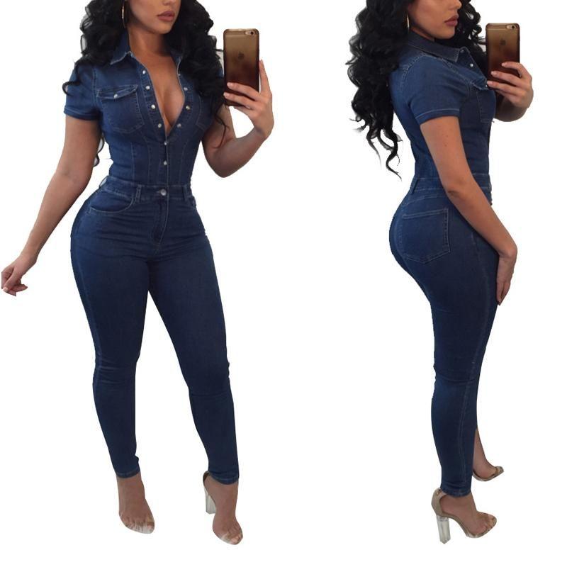 Artı Boyutu Denim Tulum Kadınlar Tulum 2020 Yeni Sıcak Yaz Tek Parça Sıska Yüksek Bel Kot Bodysuit Tulum Pantalon Femme