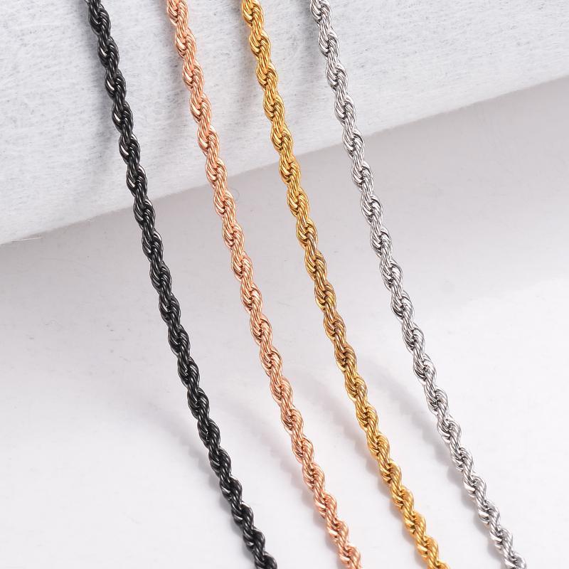1pc Anchura 2 / 2.5 / 3 / 4mm Cadena de la cuerda para las mujeres Collar de los hombres 316L Acero inoxidable Cadena torcida Collar de joyería