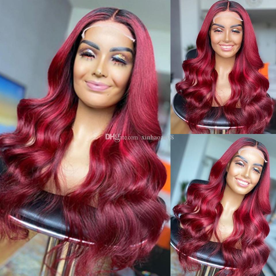 Ombre Human Hair Silk Base Lace Front Wig Body Wave Burgundy Dwa Tone 1B 99J Glueless 13x6 Koronki Przód Peruki Ombre Włosy Peruka