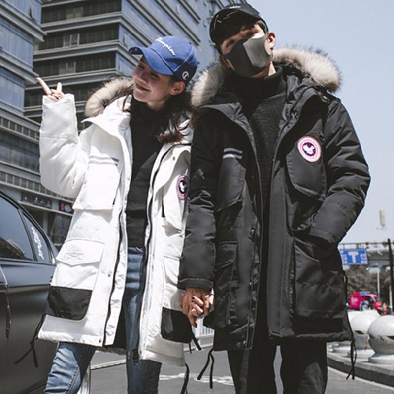 Kanadischer stil winter heißer outdoor sportmantel frauen mittel- und langen stilliebhaber 'über knie schwere arbeit kleidung duck hinunterjacke für männer