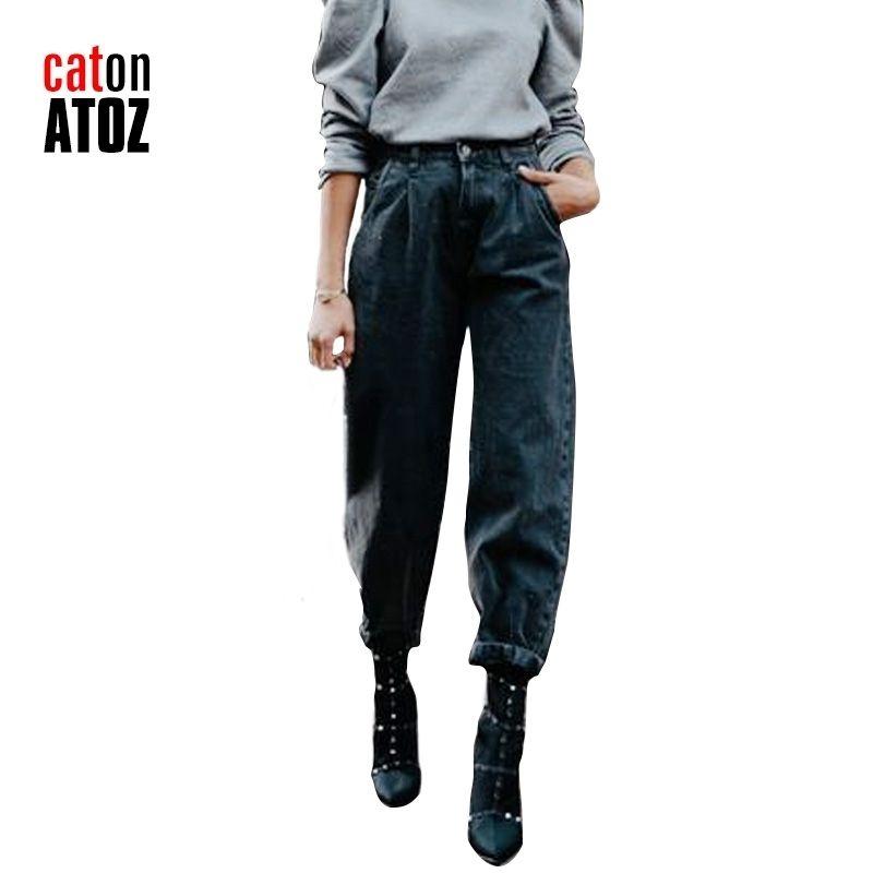 Catonatoz 2248 Black Cargo Pantswear Women's Streetwear Pleated Mom Jeans High Cintura Suelta Slouchy Jeans Jeans Bolsillos Pantalones 201013