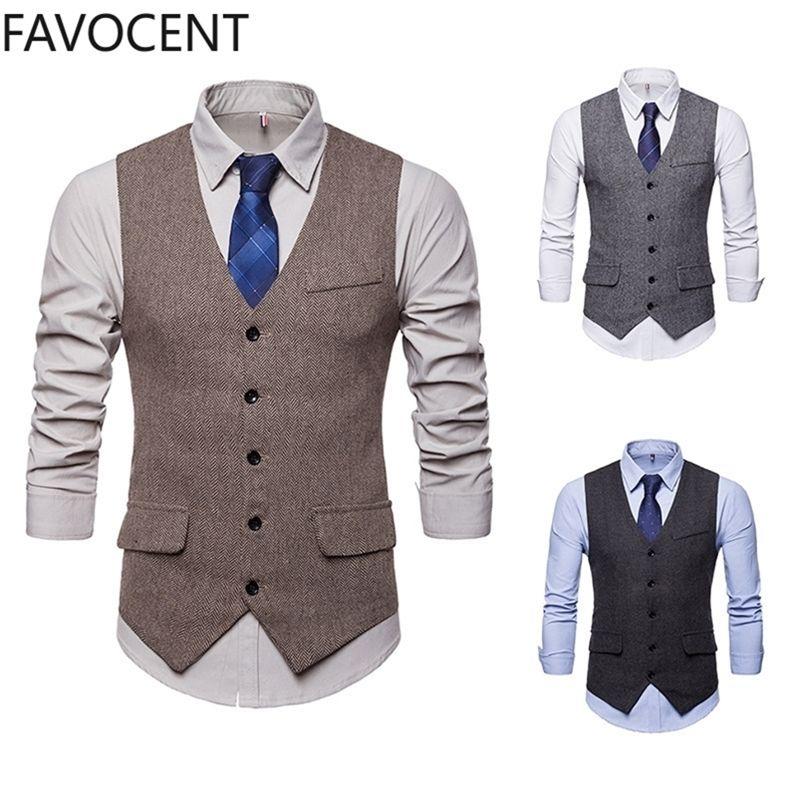 Смартный случайный бизнес жилет мужской моды формальное платье жилет костюм одиночный погруженный классический V-образным вырезом свадьба Top Y201123