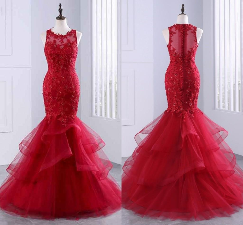 Red Lace Beaded Evening Dresses Prom Gowns Mermaid Style Tulle Ruffle Sheer Cap Sleeve Bateau Zipper Formal Dress Long Party Mom Dress