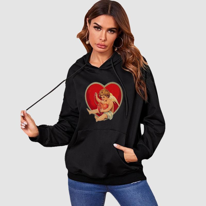 Womens fai da te Felpe 2020 autunno casuale delle donne Stampa Pullover fai da te di cuore e carattere Print cappuccio Hot Sale Felpe