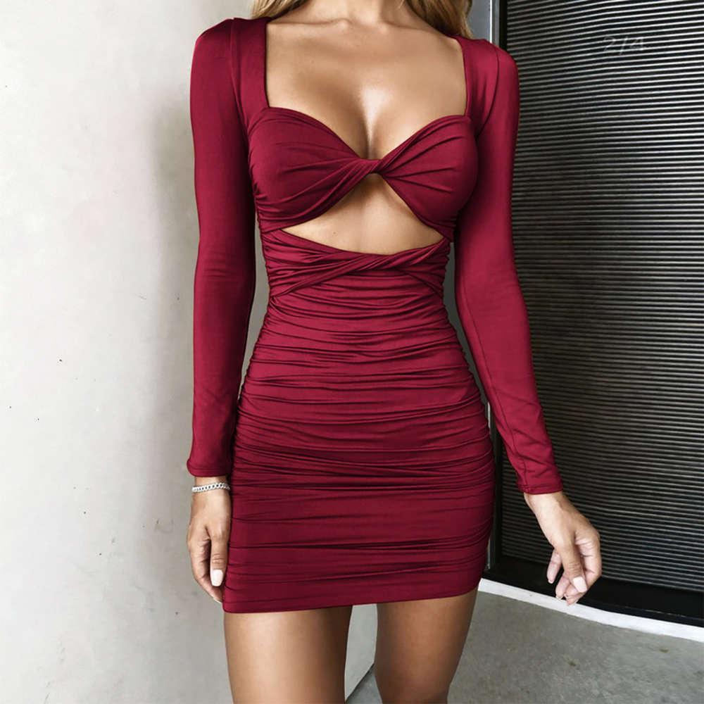 2021 Jupe de hanche plissée de printemps Sexy Long Sve Deep Vran Croix Femmes Drs