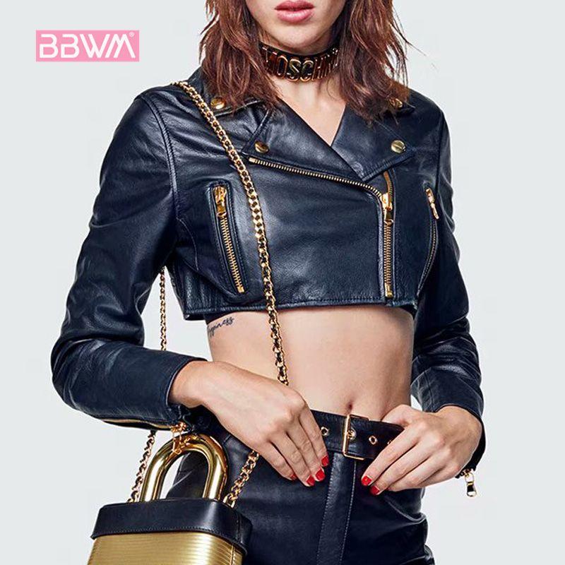Sexy women's spring new wild fashion short motorcycle leather jacket Black lapel long sleeve coat 201016